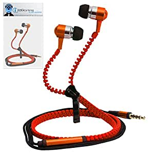 Orange Premium 3.5mm Aluminium ZIPPER In Ear Stereo Wired Headset Hands Free Headphones with Built in Mic Microphone and On Off Button For Celkon A98