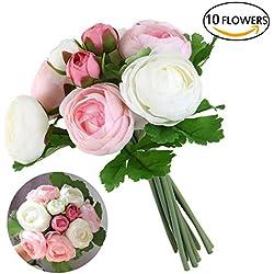 ULTNICE 10pcs vivo Aritifitial Camelia flores ramo de novia flores para banquete de bodas (rosa + blanco)