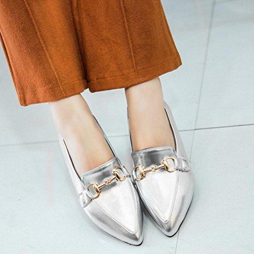 TAOFFEN Femmes Escarpins Decontracte Plat Puntiagudo A Enfiler Chaussures Argent
