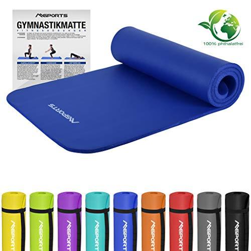 MSPORTS Gymnastikmatte Premium | inkl. Übungsposter | Hautfreundliche - Phthalatfreie Fitnessmatte - Königsblau - 190 x 60 x 1,5 cm-sehr weich-extra dick | Yogamatte
