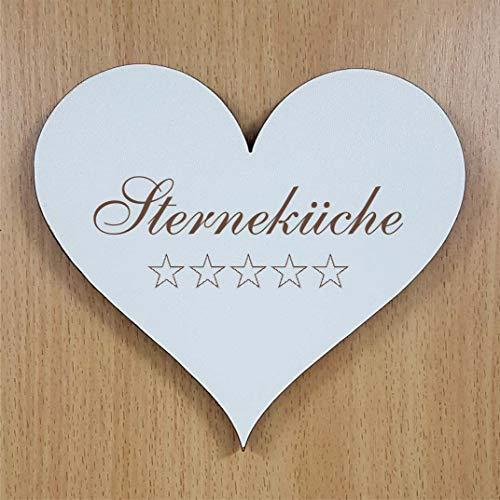Schild Herz « Sterneküche » ca. 13 x 12 cm - mit Motiv STERNE - selbstklebendes Türschild Dekoschild Wohnaccessoires - Küche Koch