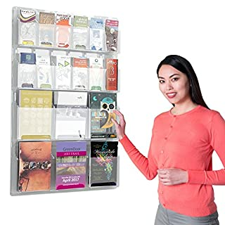 Wonderwall Clear Plastic Wall Mounted Leaflet Dispenser/Display Brochure Holder 8 Sizes to Choose from, incl. (12 x A5)