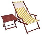 Liegestuhl Gelb-weiß Gartenliege Tisch Kissen Deckchair Holz Sonnenliege Gartenstuhl 10-319 T KH