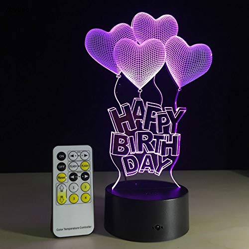 Zhybac1Led Nachtlicht 7 Farben Happy Birthday Lampe Für Party 3D Illusion Glow Party Decor Lampe Mit Fernbedienung Oder Touch Control Deco Lampe