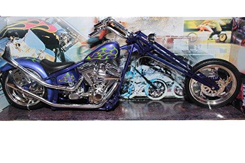 Newray Custom Blue Chopper, Moto modèle en Plastique à l'échelle 1:12, moulée sous Pression