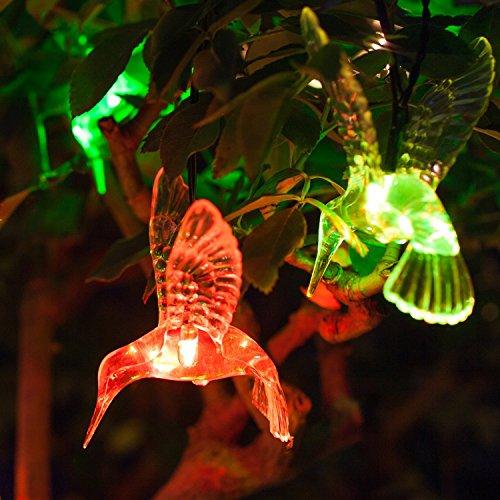 Lights4fun 10er LED Solar Lichterkette Kolibri Farbwechsel