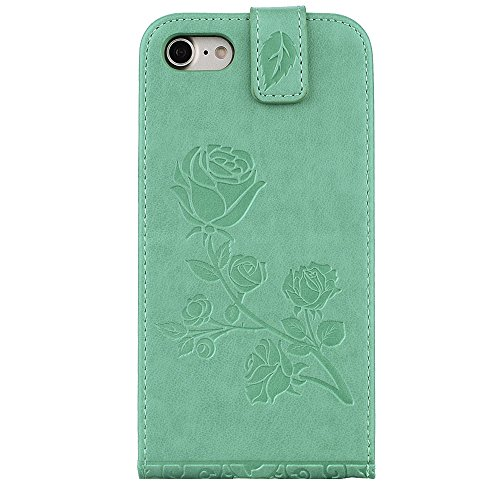 "MOONCASE iPhone 7 Coque, [Embossed Pattern] Card Holster Flip Housse Durable PU Cuir Anti-choc Supports Protection Etui Cases pour iPhone 7 4.7"" Vert Vert"