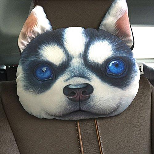 huplue 3D Hund/Katze Auto Kopfkissen Animal Reise Hals Kopfstütze Ornaments Auto-Dekoration Home Emoji-Kissen mit Bambus anthrazit #10 (Hund Katze Ornamente)