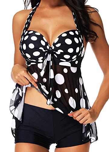 Sexy Neckholder-tankini (INSTINNCT Damen Retro Push Up Gepolsterter Bauchweg Figurumspielender Tankini Set mit Bügel Raffung Röckchen Effekt Oberteil Hotpants Schwarz S)