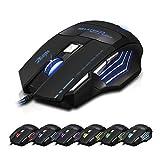 Dland, Zelota, mouse ottico professionale, con LED, 7200dpi, 7 tasti, con cavo per ingresso USB, regolabile, funzione di commutazione 7200DPI/3200DPI/2400 DPI /1600 DPI /1000 DPI, per giocatori professionisti, per notebook, PC, computer portatile