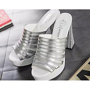 LvYuan Damen-Sandalen-Lässig-PU-Blockabsatz-Sandalen-Schwarz / Weiß / Silber Black