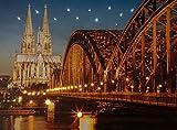CBK-MS Leuchtbild Köln Hohenzollernbrücke Rhein Kölner Dom LED Bild Wandbild mit Beleuchtung