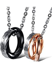 Peora Multicolour Non-Precious Metal Stainless Steel Couple Matching Necklace Pendant Interlocking Promise Double Rings with Chainb for Men and Women