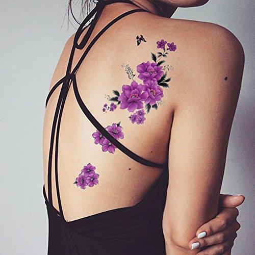 TAFLY Schmetterling Lila Blumenmuster Körper Kunst Wasserdicht Blume Temporären Tattoo Transfer Aufkleber 5 Blätter