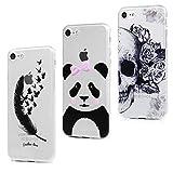 MAXFE.CO Coque pour iPhone 8/iPhone 7 Silicone Mince Souple en Gel Case Cover TPU Original Motif Coque pour Apple iPhone 8/iPhone 7(4.7 Pouces) Oiseau de Plume Noire+Panda+Fleur Squelette