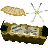 Batería Compatible Para IROBOT ROOMBA E 4500 MAH + 1 Filtro + 1 Cepillo Lateral 6 Brazos Serie R3 500 510 521 530 531 532 534 535 536 540 550 551 555 560 562 563 564 PET 565 570 572 577 580 581 590 600 610 625 80501 80601 GD-Roomba-500 SP530-BAT
