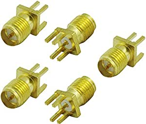 Super Power Supply 5 Pack - Edge PCB Mount Board Receptacle RP-SMA Female Straight Connector Adapter Coax Coaxial
