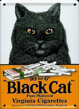 Retro Wandschild Designer Schild Black Cat Virginia Cigarettes Deko 8x11cm Nostalgie Metal Sign A037 (Black-schild)