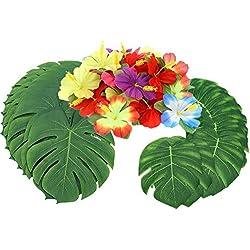 """Sinoem 90 Stück Tropical Party Dekoration liefert 14"""" und 8"""" Tropical Palm Monstera Blätter und Hibiskusblüten, Künstliche Pflanzen Simulation Blätter Blumen für Hawaiianische Luau Dschungel Party"""
