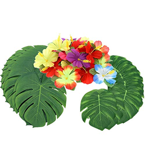 90 Piezas 14' y 8 'Hojas de Palmera Tropical y Decoración de Fiesta de Flores de Hibisco de Seda, Planta Artificial Monstera Hojas de Flores Fiesta Hawaiian Luau Fiesta de la selva BBQ Fiesta de Cumpleaños Decoraciones Suministros