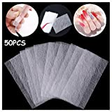 50PCS Magical Nail Extension Silk Fiberglass, Kalolary Nail Care Fiberglass Silk Nails Wrap Stickers Non-Woven French Nail Warp for Gel Extension Nail Art Tools