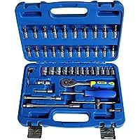 S&R Juego de llaves de vasos tuercas y destornilladores 1/4. Caja de herramientas profesional con 46 insertos en acero cromo vanadio. Maletín destornilladores e insertos profesionales.
