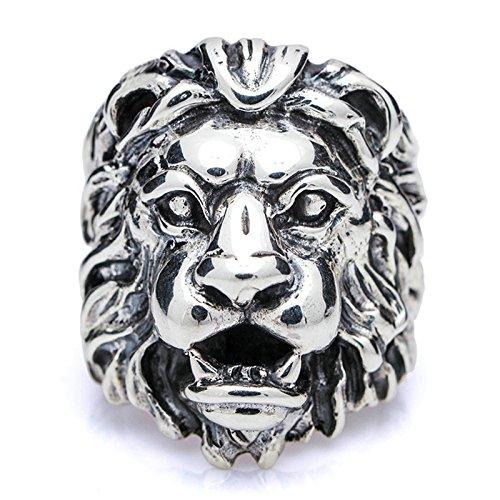 KnSam Silber Ringe Herren mit Stein Herrenringe Silber Löwenkopf Leo Größe 61 (19.4) Silber