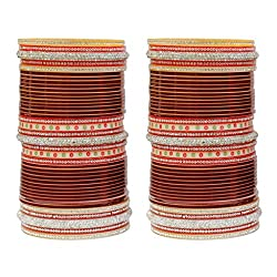 MUCH MORE Traditional Collection Maroon Bridal Chura Bangle For Women & Girls Partywear Jewelry