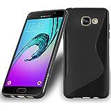 Cadorabo - Design 'S' Housse Gel (silicone) pour Samsung Galaxy A5 (6) (Modèle 2016) - Etui Coque Case Cover Bumper en NOIR DE JAIS