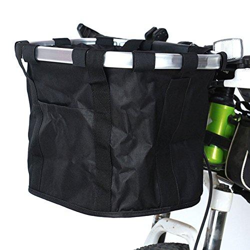 lzn Fahrradkorb, Aluminiumlegierung,Lenkerkorbtasche 35x27x26CM Schwarz