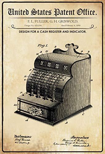 FS Patent Entwurf für eine Registerkasse Blechschild Schild gewölbt Metal Sign 20 x 30 cm
