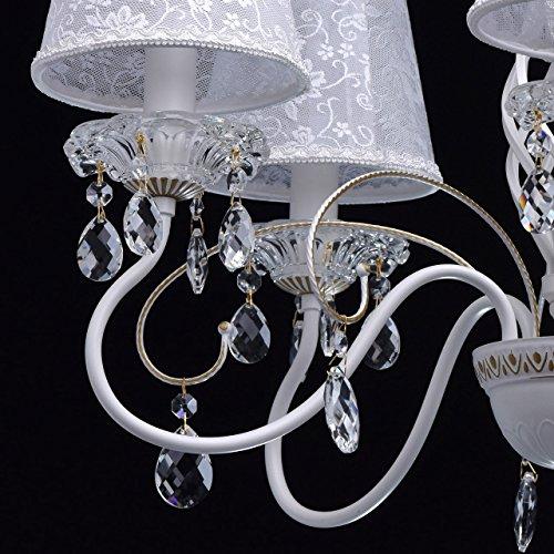 Eleganter Kronleuchter Metall weiße Stoffschirme 5 flammig - 9