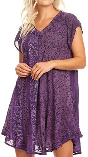 Sakkas 18701 - Salina Damen Crinckle Cap Sleeve V-Ausschnitt Top Tunika Bluse Pailletten & Print - Lila - OS -