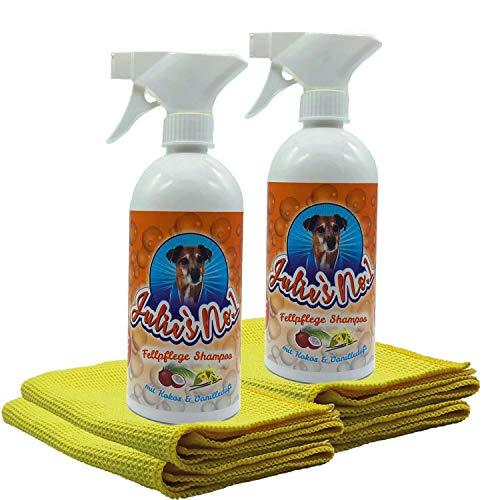 Julies No 1 2 x Fellpflege Shampoo Premium Set inkl 4 x Sunshine Tuch| Zur sanften Pflege & Reinigung von Tierfellen | Hund & Katze | 2 x 500 ml Flasche mit Schaumsprühpistole