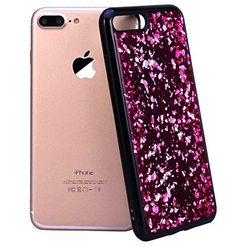 WE LOVE CASE iPhone 7 / 8 Cover Glitter Nero Argento iPhone 7 / 8 4,7 Custodia Case Silicone Soft Flessibile Elegant Belle Protettiva , Antiurto Ultraslim Bumper , TPU Gel Gomma Morbido Protezione ,  rose Red