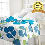 TRUSTFUL Cotton Blue Flowers Design Print Single Bed Reversible AC Blanket | Dohar | Quilt | Comforter | Duvet (Polycotton, Multicolor)