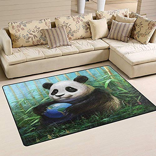 SESILY Aquarell Pnada Ball Bambus Teppich Teppiche rutschfeste Bodenmatte Fußmatten Wohnzimmer Schlafzimmer