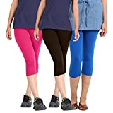 Rooliums Super Fine Cotton Lycra Women's Capri Leggings Combo (Brand Factory Outlet) Pack of 3 - FREE SIZE (Pink,Black,Blue)