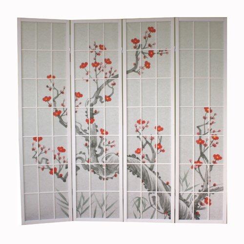 Homestyle4u 277 Paravent 4 teilig Raumteiler 4 fach Holz Weiß Shoji Reispapier weiss mit Kirschblüten Trennwand Spanische Wand Sichtschutz zusammenklappbar (Shoji Screen Raumteiler)