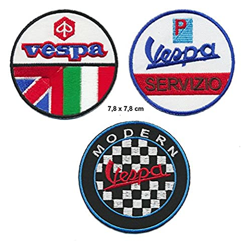 VESPA Écusson thermocollant patch Lot de 3 Moto Scooter Italie Turbo Livraison