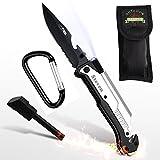 Survival Messer 6-in-1 Klappmesser mit Gravur - Taschenmesser mit Feuerstahl, Glasbrecher, Säge - Outdoor-Messer - Geschenk für Männer