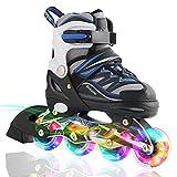 2pm Sports Ciro enfants rollers en ligne de la série Kuxuan, doté de roues LED illuminées, 4 raille réglable, light up inline skates pour les filles et les garçons - Bleu S (31-34)