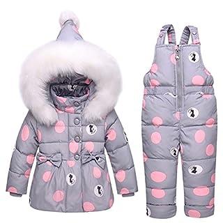 Amur Leopard Toddler Sweet Baby Girls Winter Snowsuit Polka Dot Bow Down Ski Suit Snowpants Bib Down Coat Puffer Jacket Fur Hoodie 2 Piece Clothing Outfit Set, Grey, 2-3 Years