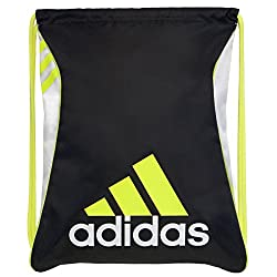 adidas Burst Sackpack, Black/White/Solar Yellow, 18 x 14.25-Inch