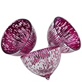 Dadeldo Schwimmlichter 3er Set Glas 4x6x6cm Windlicht Teelichthalter (pink silber)