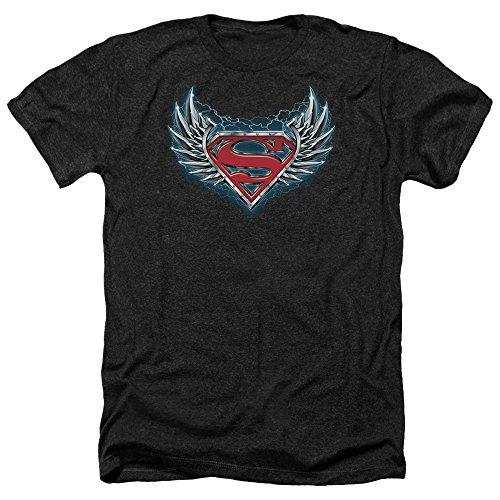 Superman Männer Stahl Flügel Logo Heather T-Shirt, XX-Large, Black -