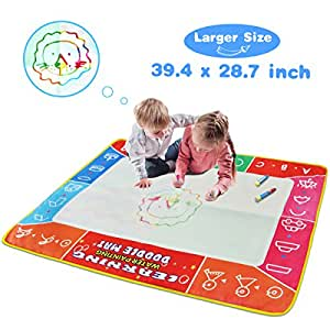 Water Doodle Mat, Larger Size(39.4 x 28.7in) Multicolored No Mess Water Drawing Painting Pad with 4 Magic Pens & 9 Stamps - Best Educational Toy & Halloween/ Christmas Gifts for Kids