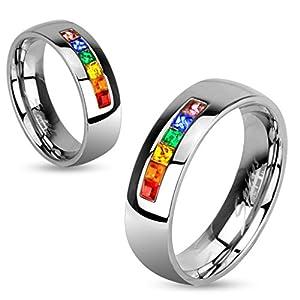 BlackAmazement Ring Edelstahl Rainbow Regenbogen Zirkonia Pride mehrfarbig steine gems silber