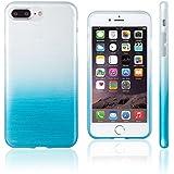 Xcessor Transition Couleur - Étui Coque Housse Flexible En Gel TPU Pour Apple iPhone 7 Plus. Avec Gradient Fil En Soie La Texture. Bleu Clair / Transparent