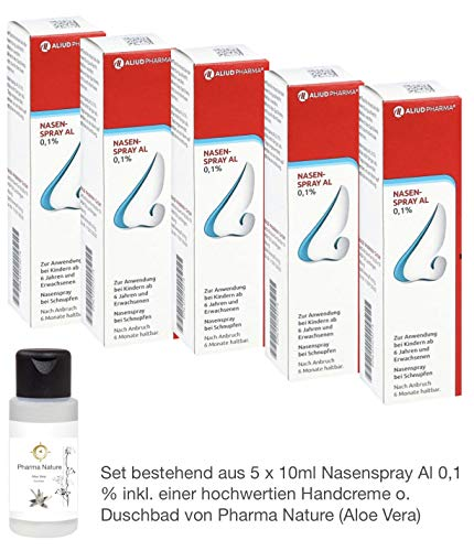 Nasenspray Al 5 x 10ml - Sparpackung - inkl. einer pflegenden Handcreme o. Duschbad von Pharma Nature